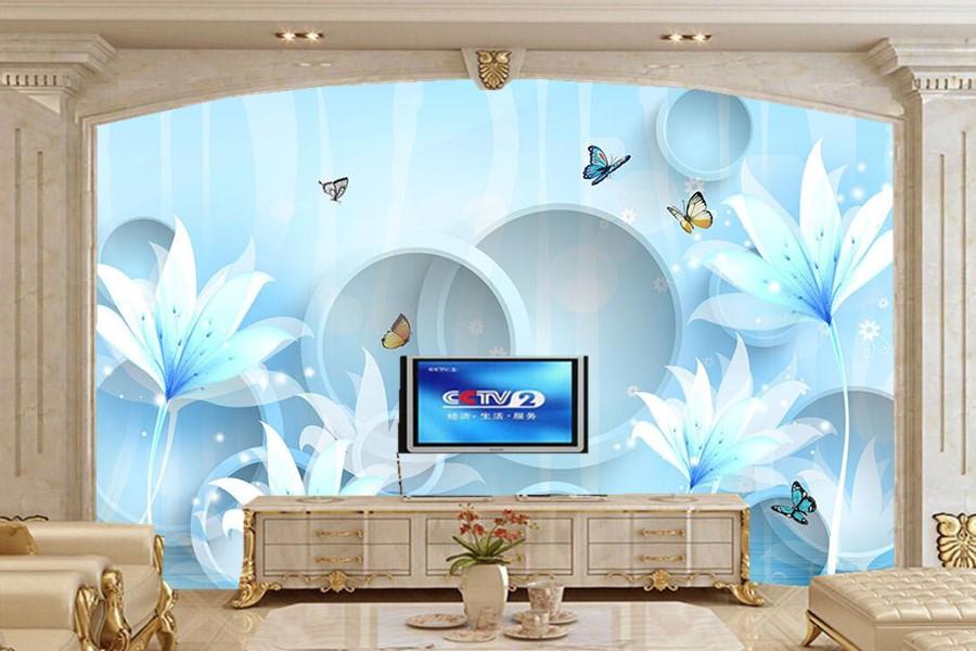 ₩Grandi murales, sogno cerchio blu rosa 3D wallpaper, soggiorno ...