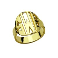 Personalized Name Jewellry Solid Silver Monogram Round Circle Men Anniversary Ring Gold color Custom Three Initials Ring