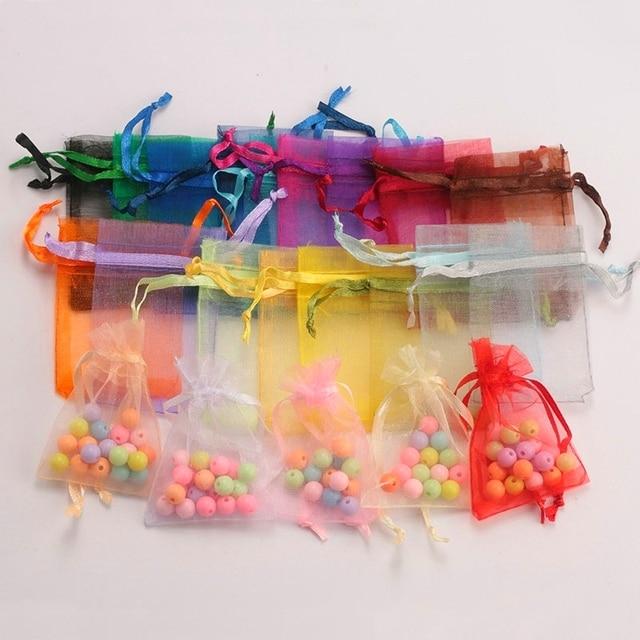 100 יח'\חבילה 5*7 סנטימטר, 7*9 cm, 9x12 cm אורגנזה תיק חג מולד חתונת מתנת תיק סוכריות אריזת תכשיטי אריזת שקיות 23 צבעים