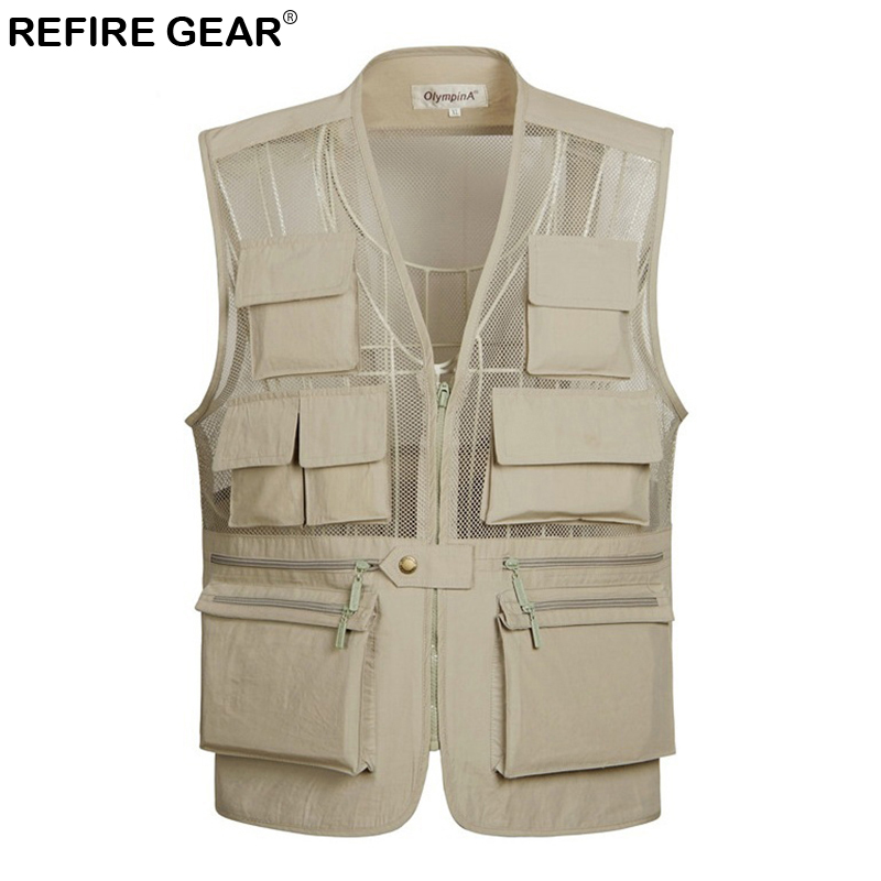 Refire Gear Breathable Fishing Mesh Vest Men Outdoor Photographer Sleeveless Jacket Lightweight Quick Dry Multi-Pocket Vest