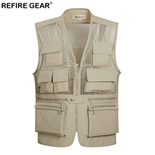 Refire Gear Breathable Fishing Mesh Vest Men Outdoor Photographer Sleeveless Jacket Lightweight Quick Dry Multi-Pocket Vest