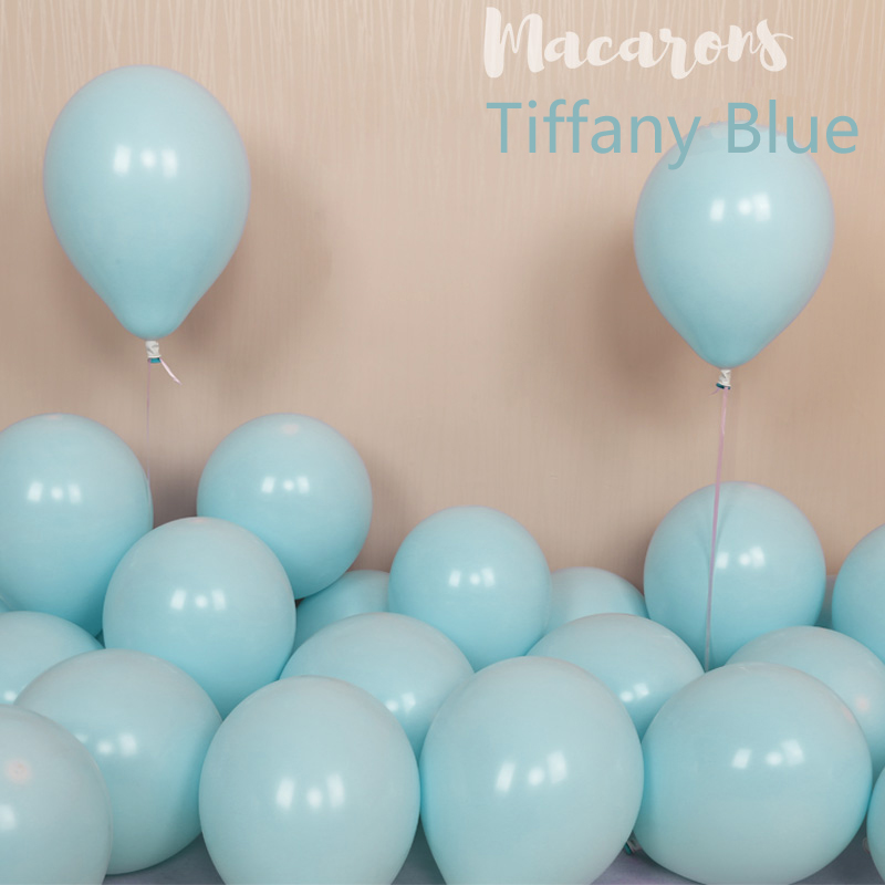 100pcs 10inch Latex Macaroon Balloon Baby Birthday Wedding Balloons Valentine's Day Party Decoration Air Ball Arch baloons Decor-Tiffany Blue