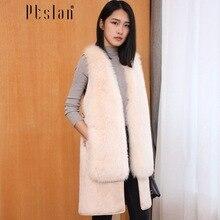Ptslan 2016 Women's Real Lamb Fur Full Pelt Long Sleeve Jacket Short Coat