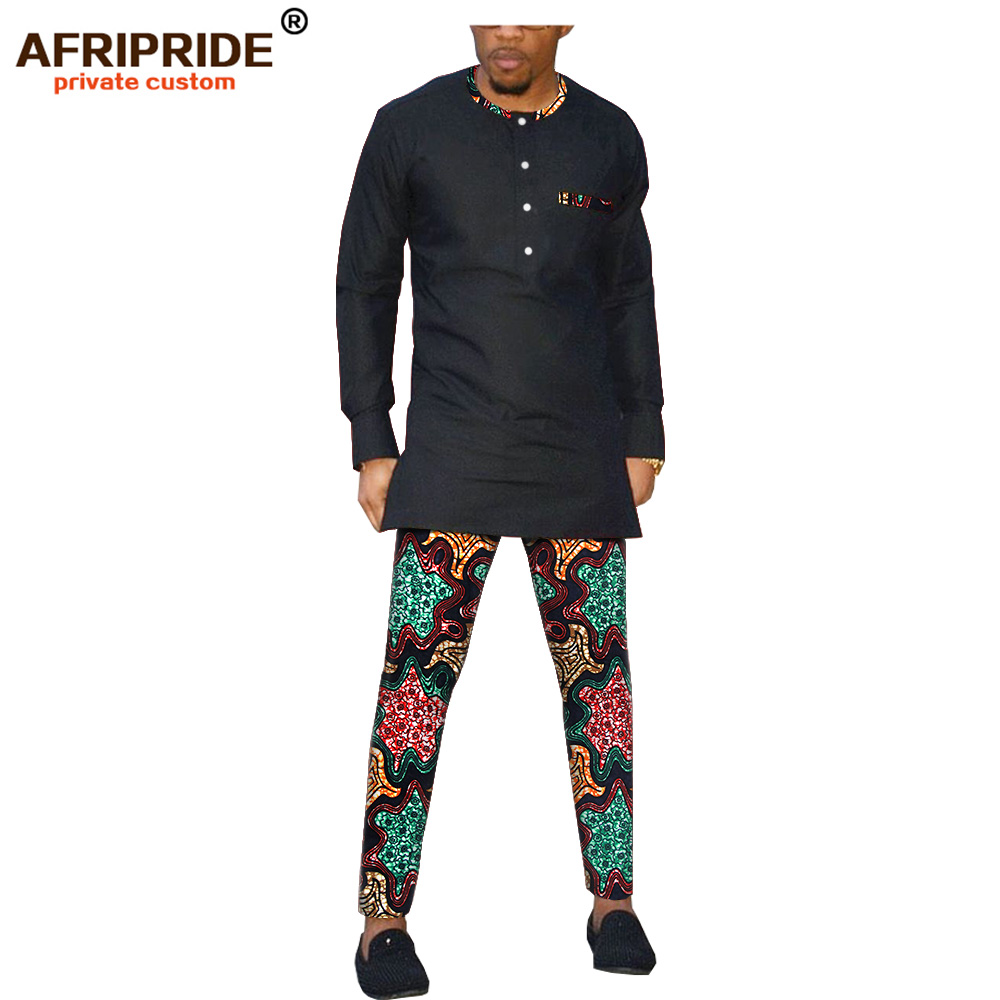 African Clothes Men's 2-pieces Set AFRIPRIDE Bazin Richi Full Sleeves Single Breasted Shirt +full Length Pants A1916001