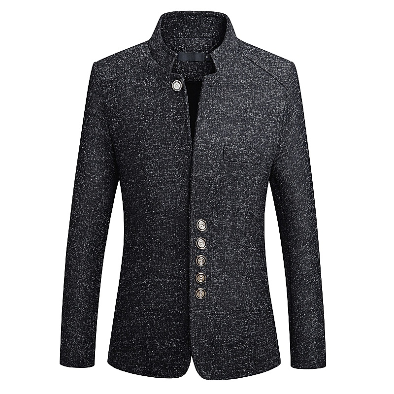 Black Suits Blazer Men Business Casual Stand Collar Male Blazer Slim Fit Mens Blazers Jacket 2018 Big Size M 5XL 6XL