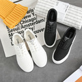 New Womens Flat Shoes 2017 White/Black Shoes lace Zapatos Mujer Vulcanized canvas shoes