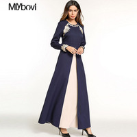 Dubai Abaya Muslim Dress Two piece Swing Dress with Embroidered Arab Dress Party Middle Eastern Robe Kaftan Abaya Dresses