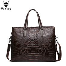 2016 New Luxury high quality PU leather men business bags handbags famous brand man totes crocodile embossing designer shoulder