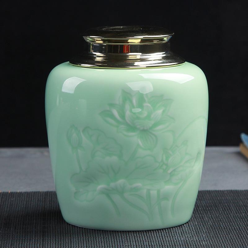 中国セラミック茶箱レトロ蓮の彫刻ティースプーン茶保存容器家族ホーム磁器瓶ライトグリーンパウダーコーヒー茶缶 -
