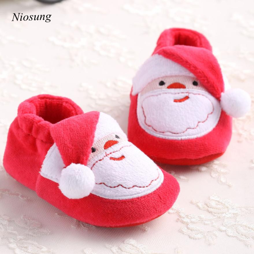 Toddler Infant Newborn Cute Cartoon Santa Claus Soft Sole Baby Girl Boy First Walkers Prewalker Shoe For Christmas Party wholesa