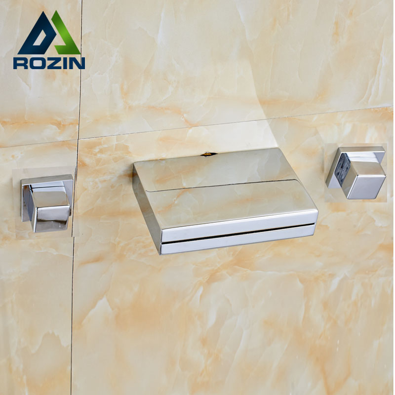 цена на Wall Mounted Chrome Waterfall Basin Faucet Double Square Handles Brass Bathroom Tub Sink Mixer Taps