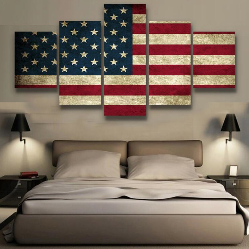 5 Pieces Canvas Printed Rustic American Flag Home Decor