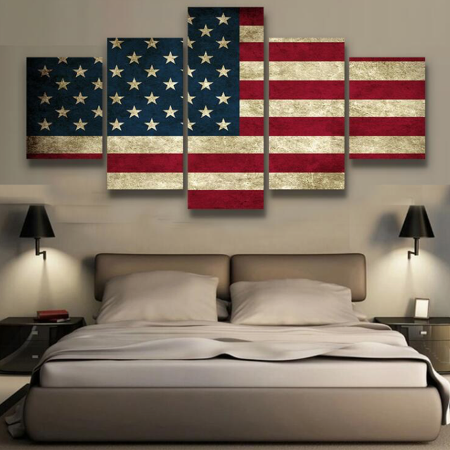 5 Pieces Canvas Printed Rustic American Flag Home Decor For Living Room Painting Poster Wall