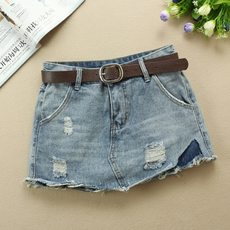 Fashion 2020 Spring Summer Blue Mid Waist Denim Shorts Skirts Women Slim Fringe Casual Ripped Hole Jeans Shorts With Belt