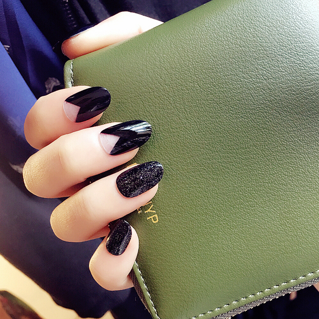 Brillante negro color puro gel UV falsas uñas falso Lindo uñas salón ...