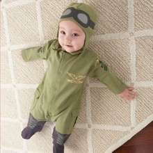 2016 новый костюм, мальчик ползунки новорожденных детская одежда, малыш мальчик одежда, дети пилот ползунки, младенческой с длинным рукавом комбинезон + шляпа