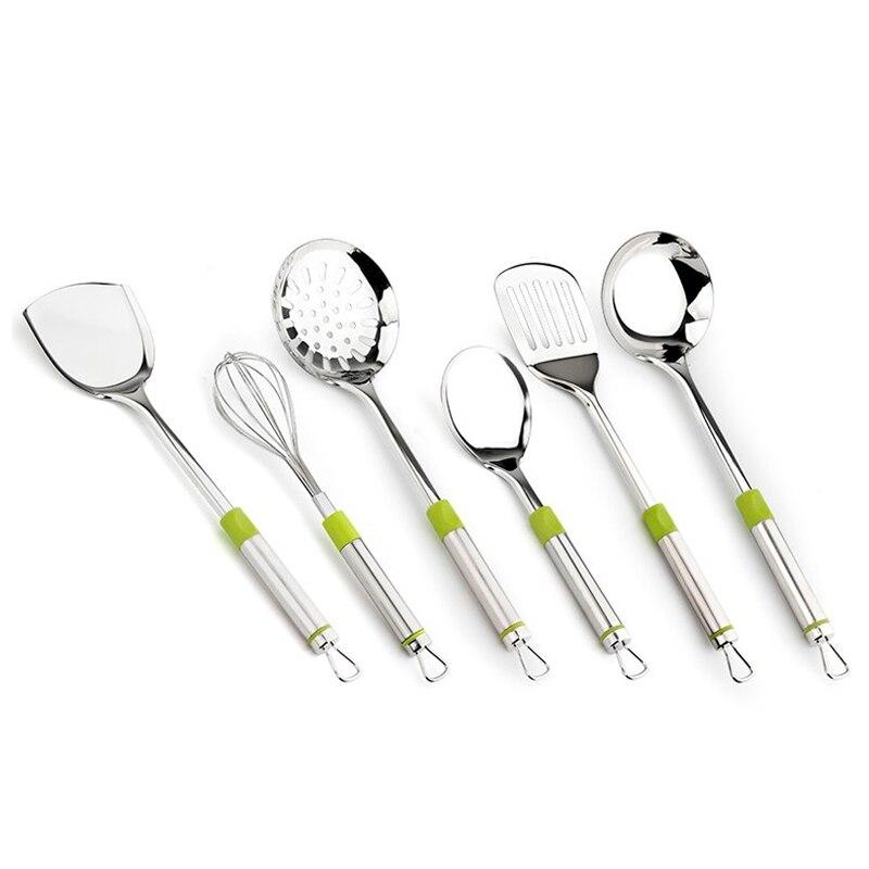 Hot 7 pièces ustensiles de cuisine cuisine outils de cuisson set ustensiles de cuisine avec poignée verte en acier inoxydable soupe louche fuite pelle