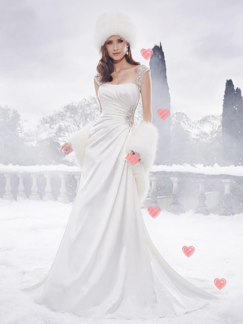 Christmas Elegant Boat Neck Wedding Gown Simple Satin