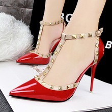 Size 34-39 # 5 Colors Super High Heel Pumps Sexy Pointed Toe Dress Shoes Elegant Woman Rivets Thin Heel Shoes Buckled Shoes V091