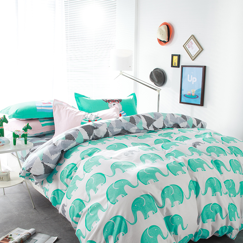 Cute Cartoon Lions Elephant Rabbit Fox Deer Bedding Sets Queen Size Cotton  Disperse Printing Duvet Cover Amazing Design