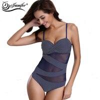 2016 Fashion Mesh Patchwork One Piece Swimsuit Women Sexy Striped Beachwear Tunic Elegant Swimwear
