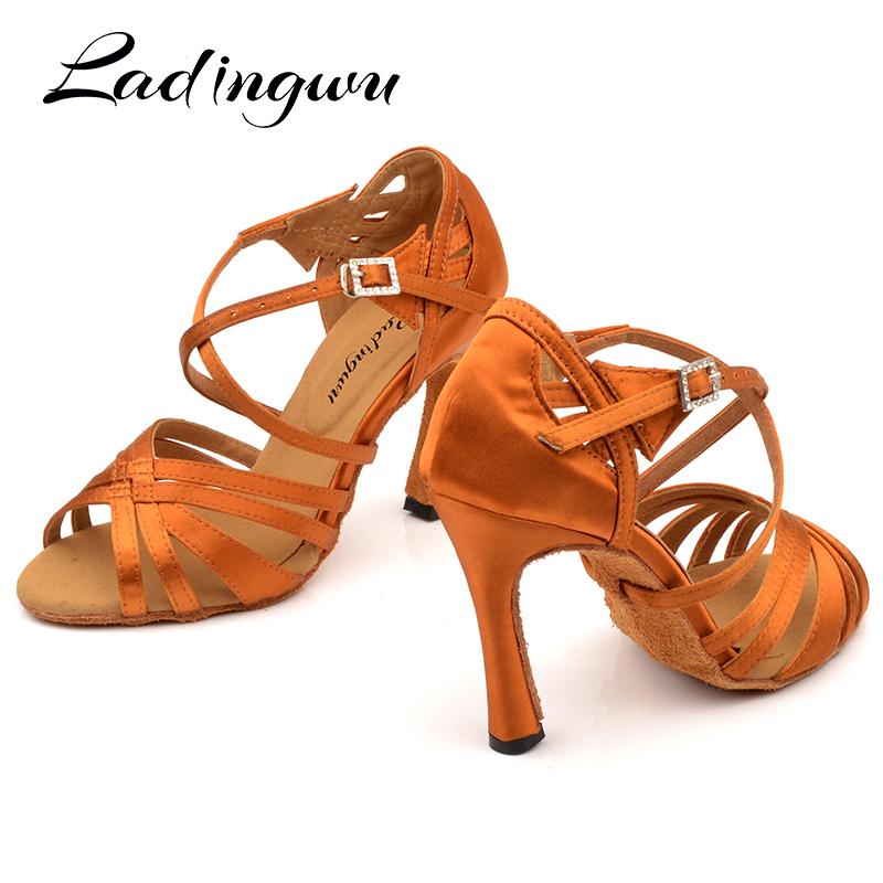 Ladingwu New Brand Latin Dance Shoes Women Salsa Bronze Silk Satin Dance Shoes Girls Ladys Ballroom Dance Shoes Cuban Heel 10cm