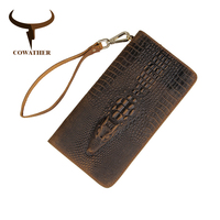 COWATHER genuine cow leather long mens alligator wallet for men vintage good male purse free shipping