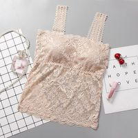 2018 Women's Bra Cropped Top Sexy Lace Cami Bralette Crochet Floral Cami Padded Tank Top Camisoles