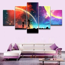 Christmas Unique gift Wall Picture Canvas Painting 5 Panel Anime Science Fiction Comedy Poster Rick and Morty Home Decor