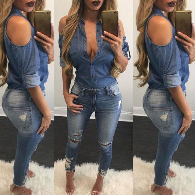 218798df06 REINO UNIDO Moda Roupas Femininas Camisetas Tops Jean Denim Camisa de Manga  Longa Tops T-