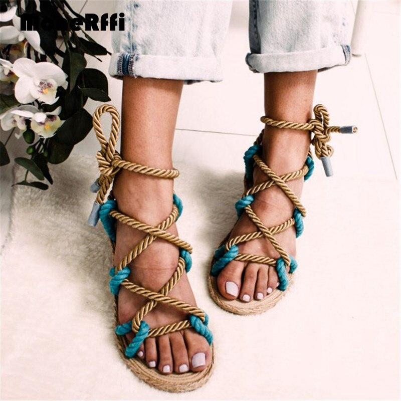 Monerffi Women Sandals Rope Flat-Shoes Lace-Up Cross-Tied Boho Hemp Female Gladiator