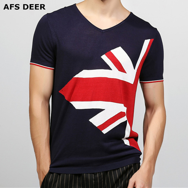 AFS DEER Brand New Summer Style Cotton Men Clothing Male Slim Fit T Shirt Man T