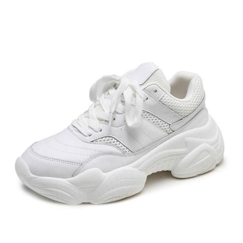 blanc Respirable Couleur Confortable Beige Air Sport Simple Chaussures Sauvage Plates Plein En Épaisses À De Mm291 Solide Harajuku Femmes Semelles BCqaH