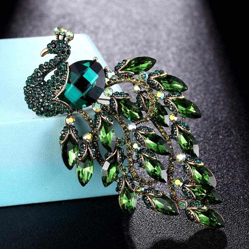 Zlxgirl Grande formato Del Pavone Del Rhinestone Brooch dei monili di cerimonia nuziale nuziale bijoux delle Donne Spille Spilla sciarpa di modo Spille s cappelli accessorio
