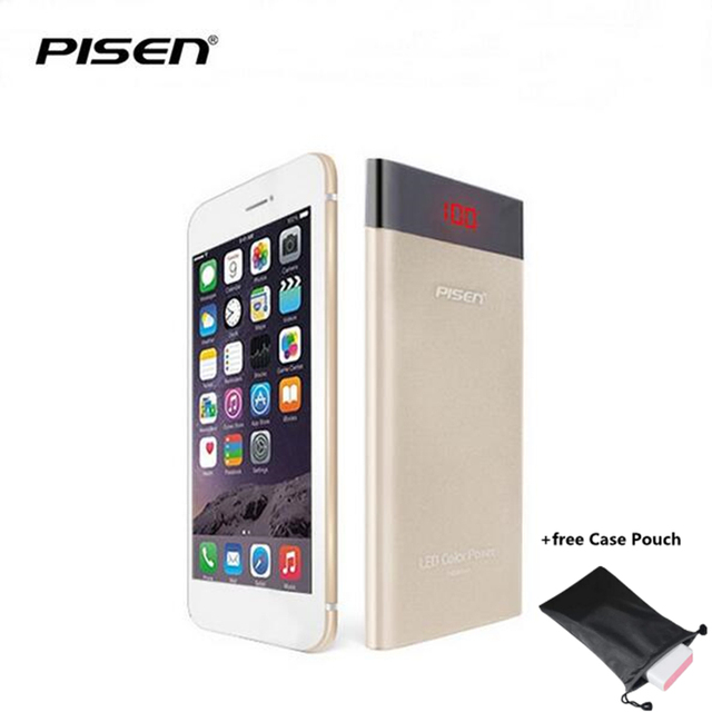 Pisen pantalla led ultrafino de polímero de litio 10000 mah cargador portátil de batería externa del cargador móvil para iphone xiaomi