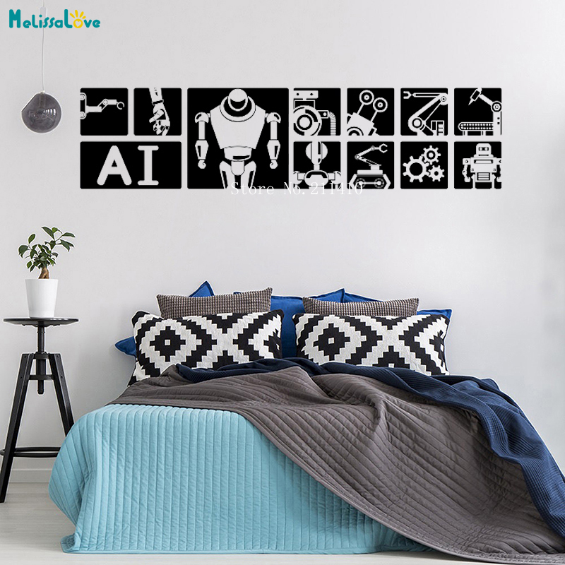intelligent robot wall sticker home decor science and technology