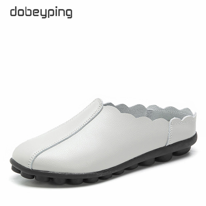 dobeyping New Casual Shoes Woman Soft Genuine Leather Women Flats Slip On Women 39 s Loafers Fashion Female Shoe Plus Size 35 43 in Women 39 s Flats from Shoes