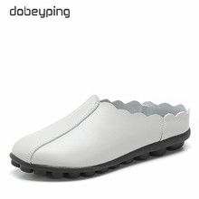 dobeyping New Casual Shoes Woman Soft Genuine Leather Women Flats Slip On Womens Loafers Fashion Female Shoe Plus Size 35-43