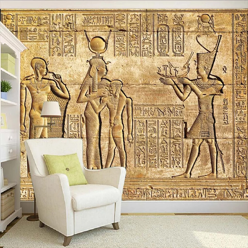 Custom Any Size Self-Adhesive Wallpaper European Style Vintage HD Egyptian Relief Mythical Figures Waterproof Canvas 3D Murals