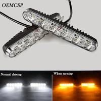 2 Pcs Ultra Bright LED Daytime Running Lights 12v 6 LED Daytime Running Light Waterproof Universal