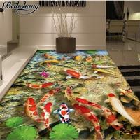 beibehang Custom photo wall murals wallpaper self adhesive floor film Chinese lotus carp bathroom living room 3D floor painting