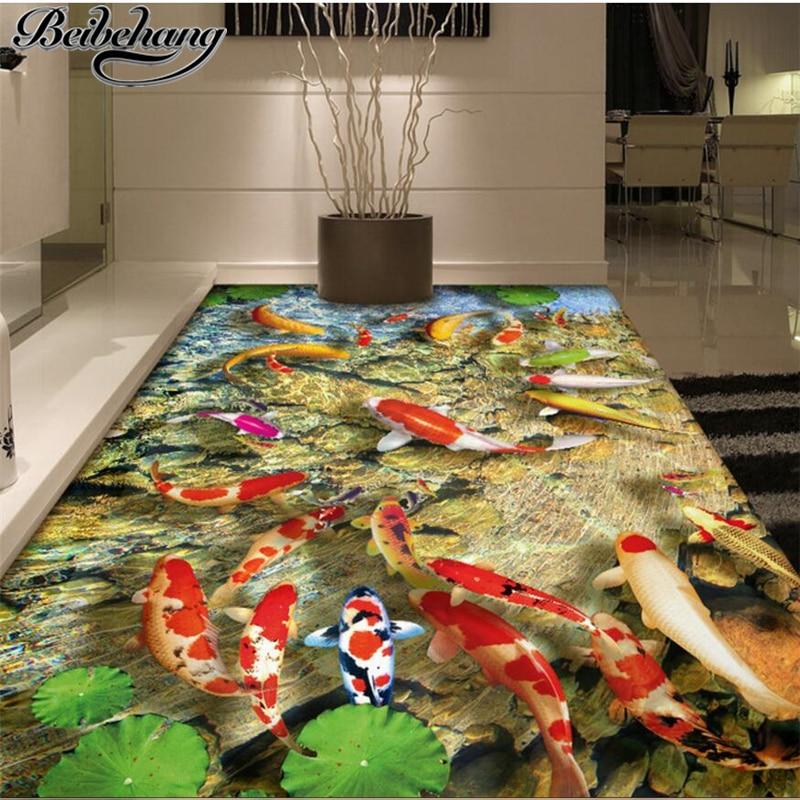 beibehang Custom photo wall murals wallpaper self-adhesive floor film Chinese lotus carp bathroom living room 3D floor painting сотовый телефон asus zenfone go zb450kl 8gb yellow