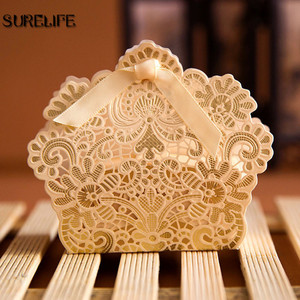 Image 1 - 100PCS Laser Cut Hollow Lace Flower White/Gold/Red Candy Box Luxury Wedding Party Sweets Candy Gift Favour Favors Boxes