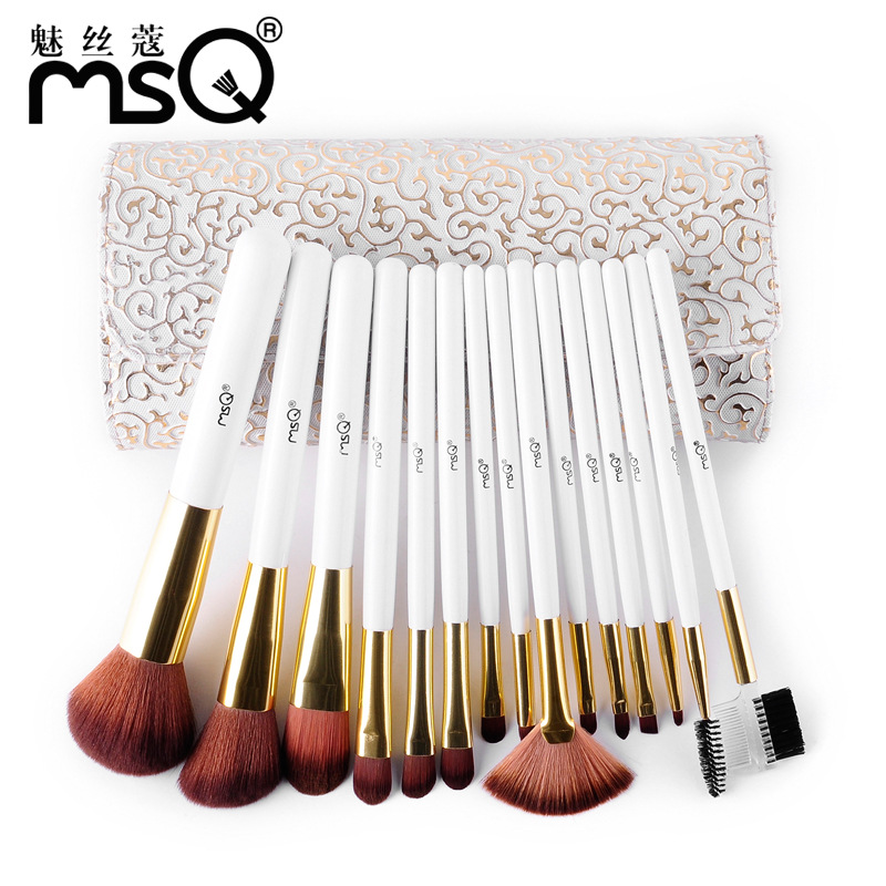 HOT 15pcs Makeup Brushes Set Synthetic Hair Make Up Brush Beauty Cosmetic Brush Set With Delicate White Patterns PU Case hot sale 2016 soft beauty woolen 24 pcs cosmetic kit makeup brush set tools make up make up brush with case drop shipping 31