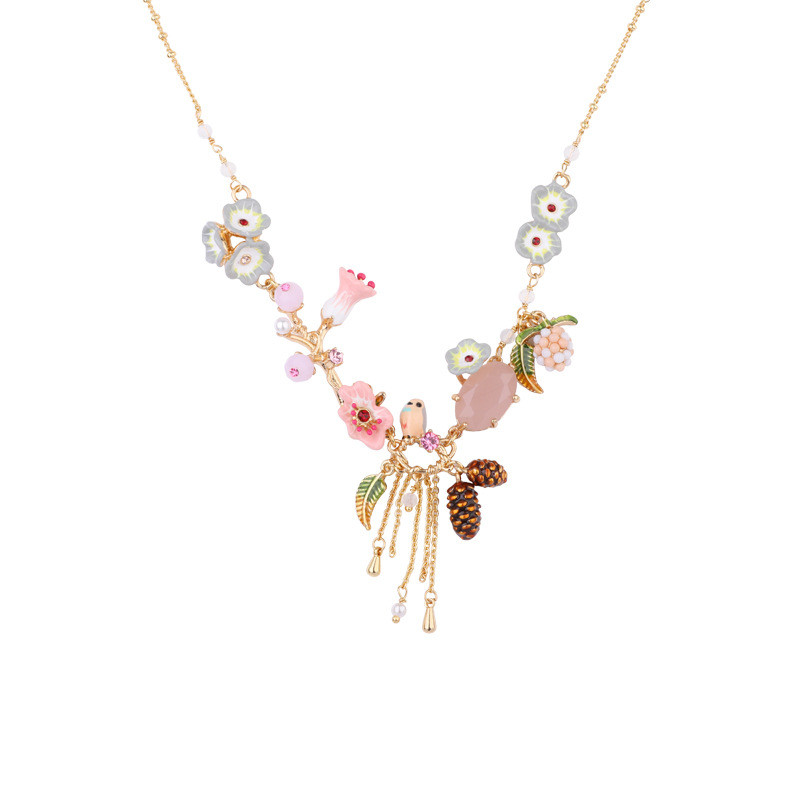 Warmhome Trendy Jewelry Enamel Glaze Copper Natural Flower Bird Tassel For Women Necklace 2018 shipping free enamel lovers bird parrot simple flower dyxytwe style fashion necklace for women