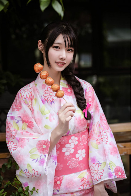 Pink Japanese National Yukata Women Elegant Kimono Robe Gown Cosplay Costume  Floral Stage Show Clothes Formal 901c529e6