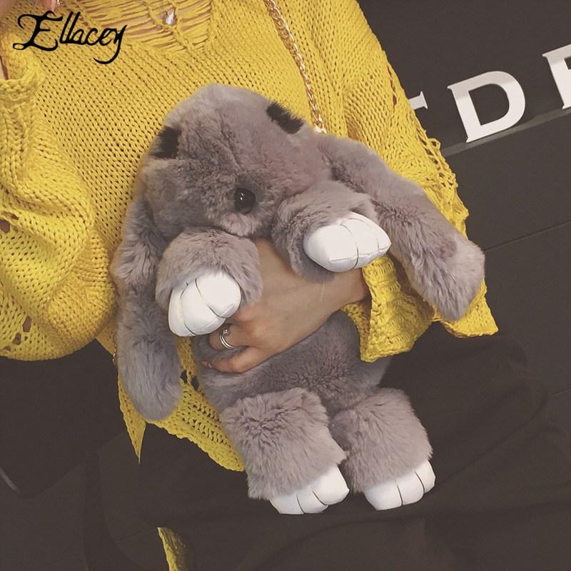 Ellacey Korean Style Cute Cartoon Rabbit Shape Handbag Women Chain Strap Plush Faux Fur Shoulder Bags For Girls Messenger Bag 2017 cartoon messenger bags mini cute bag children kids handbag girls shoulder bag purses long strap wholesale