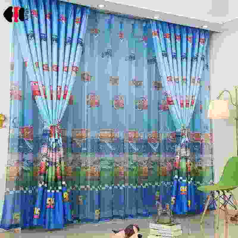 High quality Car Printed Cotton Linen Blackout Curtain Fabric For Children Baby Boy For Bedroom Living Room Window Drapes WP196D