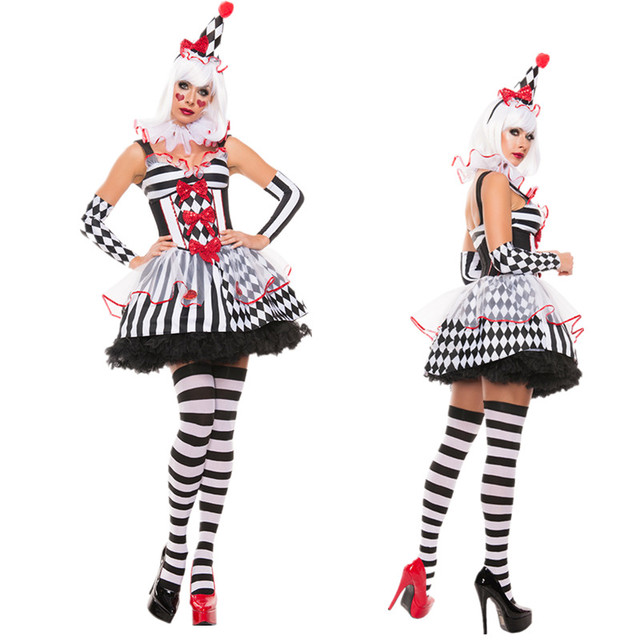 6230e8f2840b0 Halloween Costumes Adult Funny Circus Clown Costume Naughty Harlequin  Uniform Fancy Rple Play Clothes for Women