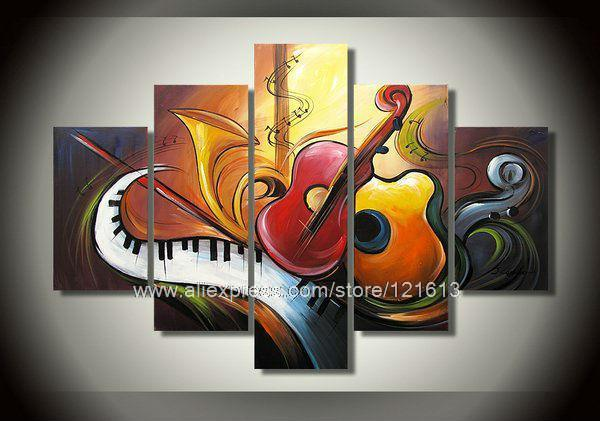 Hot High Quality Abstract Art Music Theme Wall Decoration Group Painting Asian Canvas Stretched Ers Hig